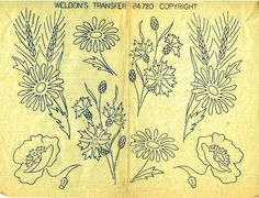 Genuine Vintage WELDONS 'All Nature of Flowers' Sewing Transfer with Thistles, Dog Rose, Poppy, Daises etc.Iron On Embroidery Transfers, All Nature, Vintage Knitting, Kitsch, Poppies, 1950s, Crochet Patterns, Thistles, Retro