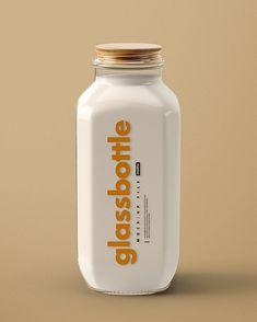 Glass Bottle Mockup Set by Creatsy Milk Packaging, Glass Packaging, Chocolate Packaging, Food Packaging Design, Beverage Packaging, Coffee Packaging, Packaging Design Inspiration, Brand Packaging, Plastic Bottles