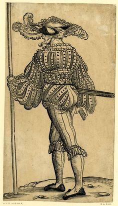 1525-1530 - Landsknecht' (German mercenary). Christoph Amberger  Print made by Jörg Breu I