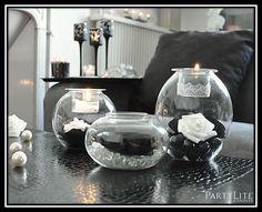 DIY candles bougies home decor décoration déco noir et blanc seduction roses lace PartyLite