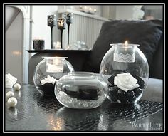 DIY candles bougies home decor décoration déco noir et blanc seduction roses lace PartyLite