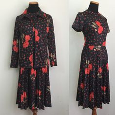 Fantastic 70s short sleeved black dress with pleated skirt. Features a bold poppy print all over. Matching jacket. No belt.  Polyester