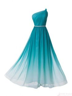 A Line One Shoulder Ombre Long Chiffon Prom Dresses Evening Dresses #SIMIBridal #promdresses