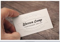 This is not a photo! Using Photoshop, Warren gave a flat white card a custom engraved appearance. He created it for a client as an example of how a new, engraved business card might look and how it could be displayed attractively.
