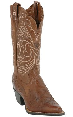 Ariat® Ladies Brown with Brown Patent Wing Tip J-Toe Heritage Cowboy Boot