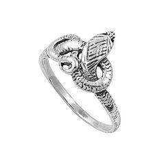 Sterling Silver 13mm Cobra Snake Ring