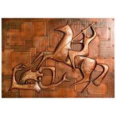 Copper Relief Wall Decoration of 'Saint George and the Dragon,' Germany, 1960s