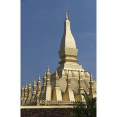 Laos Vientiane Pha That Luang Architectural detail of a golden rooftop Canvas Art - Richard Maschmeyer Design Pics (12 x 19)