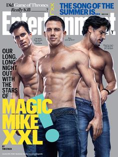 Matt & Channing & Joe—oh YES! We hit Vegas with the stars of #MagicMikeXXL, shirts optional.