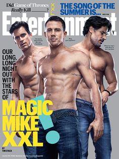 Matt & Channing & Joe—oh YES! We hit Vegas with the stars of #MagicMikeXXL, shirts optional.