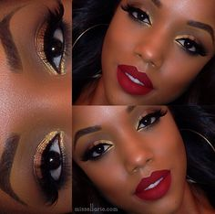 Makeup looks for black women make up lip colors Ideas for 2019 Red Lip Makeup, Skin Makeup, Makeup Eyebrows, Black Makeup, Makeup Lipstick, Makeup Brushes, Pretty Makeup, Love Makeup, Makeup Geek