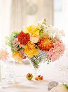 gorgeous dahlias #orange #yellow #flowers wedding reception