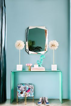 turquoise entryway