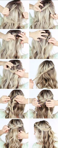 "tuto coiffure cheveux mi long idee-couronne-tresse "" Quick Hairstyles, In my opinion, hair ribbons/scarves are the prettiest hair accessories. Medium Long Hair, Medium Hair Styles, Long Hair Styles, Braids For Medium Length Hair, Crown Hairstyles, Braided Hairstyles, Wedding Hairstyles, Latest Hairstyles, Elegant Hairstyles"