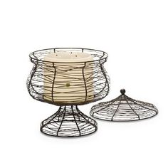 Shapely wire form is equally stunning whether illuminated by candlelight or serving as a decorative basket. Use with 3-wicks,  jar candles, pillars, or square pillars all sold separately. (Remove lid when burning candle.) 11 1/2 h, 10 dia.
