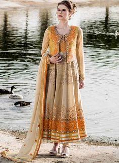 Awesome Cream And Mustard Fancy Anarkali Suit http://www.angelnx.com/Salwar-Kameez/Anarkali-Suits