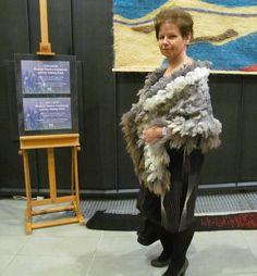 Felted scarf stole brown grey raw wool curly от galafilc