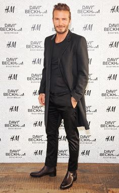 The hunky soccer star arrives at the David Beckham For H&M Swimwear launch, sadly, not wearing swimwear.