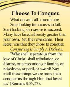 Choose to conquer - Mike Murdock Christian Motivation, Christian Quotes, Positive Quotes, Motivational Quotes, Inspirational Quotes, Favorite Quotes, Best Quotes, Awesome Quotes, Wisdom Quotes