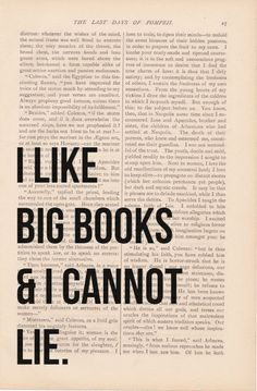 dictionary art vintage I Like BIG BOOKS and I Cannot LIE print - vintage art book page print from Etsy Shop ExLibrisJournals