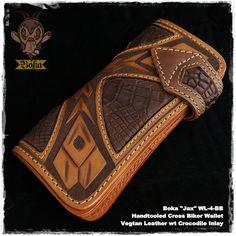Boka Jax WL-4-BB hand tooled carved Vegetable tanned vegtan leather cow hide crocodile croco inlay long biker trucker wallet กระเป๋าตัง ยาว โซ่ ebay 5