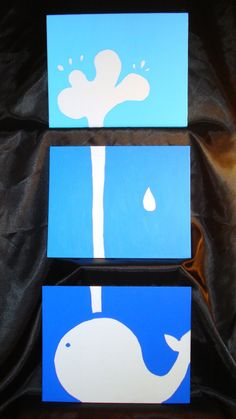 Whale Watching blue ombre whale with spouting water silhouette three piece canvas painting.