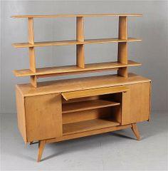 lot heywood wakefield 2 piece desk with open book shelf top apple tree midcentury modernmid