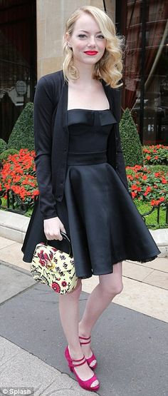 Different looks: Emma Stone works Parisian chic (L) while Amanda Seyfried gets it wrong in garish shoes and lipstick