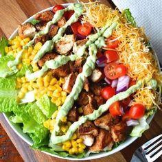 Healthy Chipotle Chicken Salad w Avocado Crema