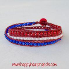 Red, White, and Blue Wrap Bracelet | AllFreeJewelryMaking.com