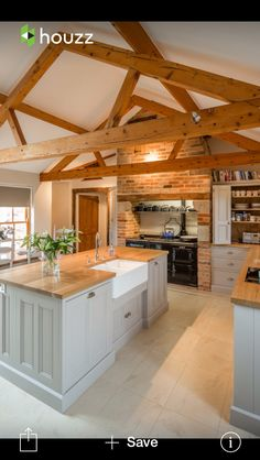 Wooden counters, beams, brick