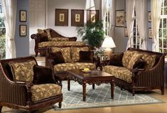 Gorgeous Traditional Sofas In Dark Brown For Classic Living Room Design Floral Motif Furniture Wooden Coffee Table With Indoor Plant