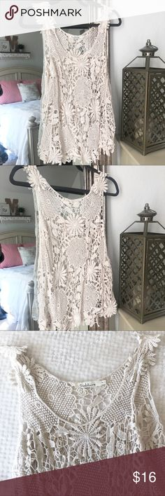 Solitaire Lace Tank See-thru tank— cute with jeans shorts! Perfect for summer ☀️💫  Size MEDIUM ** TRUE TO SIZE ** Tops Tank Tops