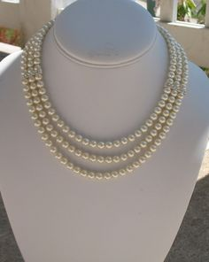 Bridal Pearl Necklace with Rhinestones by DeniseJewelryDesigns, $52.00