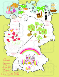 Storybook Princess Party - once Upon a Time Land Map that was sent out with Pop-Up Invite.. Each location on map is a different station at the party! Children's Party Idea @thebusybudgetingmama