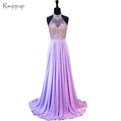Long Elegant Evening Dress 2017 A-line Beaded Crystals Floor Length  Backless Lilac Chiffon Women 7f659e6614b4