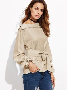 Shop khaki Foldover Boat Neck Belted Waist And Cuff Blouse online. SheIn offers khaki Foldover Boat Neck Belted Waist And Cuff Blouse & more to fit your fashionable needs.