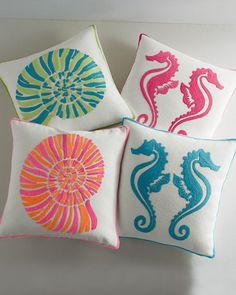 Garnet Hill | Coastal Indoor-Outdoor Pillow Collection - Sea Horse and Nautilus