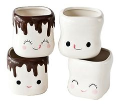 Marshmallow Faces Set of 4 Mini Ceramic Hot Coco Mugs 180D