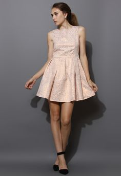 Rose Embossed Sleeveless Dress