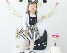 Adorable Girls Black and White Kitty Cat Dress, Skirt is detachable The top is attached with buttons and is adjustable so you can wear as a dress or skirt!