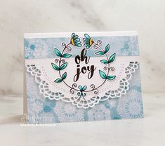 Neat Nook Creations: Oh joy winter holiday wreath card ~ My Creative Time Elf Magic, Lace Border, Simon Says Stamp, Copic Markers, Holiday Wreaths, Paper Background, Winter Holidays, Holiday Cards, Joy