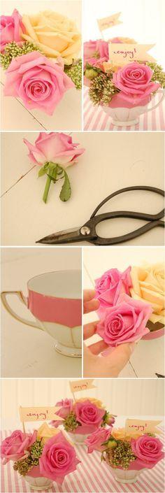 Cute tea cup flower arrangement tutorial. Lovely idea for your tea party centerpieces or bridal shower. Love the colors by knotts