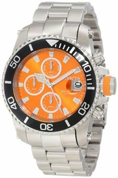 Invicta Men's 11216 Pro Diver Chronograph Orange Dial Stainless Steel Watch Invicta. $199.00. Orange Dial with Silver Tone Hands and Hour Markers; Luminous; Unidirectional Stainless Steel Bezel with Black Ring; Stainless Steel Screw-Down Crown with Orange Accent; Interchangeable Black Polyurethane Strap with Orange Loops Included. Chronograph Functions with 60 Second, 60 Minute and 1/10th of a Second Subdials; Magnified Date Window at 3:00. Flame-fusion crystal; stainless s...
