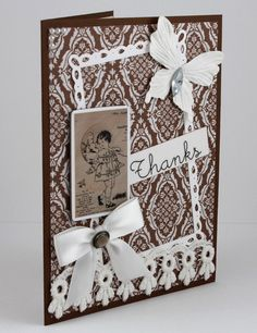 Thank You Card  Handmade Card  Brown and White  by CardsbyGayelynn