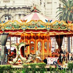 Carousel Art - Italy Photography - Carousel in Rome - Fine Art Print - Children's Whimsical Wall Art - Colorful Carnival Decor - Red Yellow