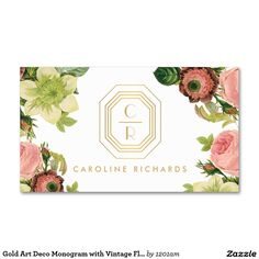Gold Art Deco Monogram with Vintage Florals Customizable Business Card for Floral Designers, Makeup Artists, Interior Designers, Salons, Cosmetologists, Style Bloggers and more.