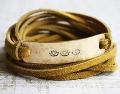 three little lotus flowers,brass gold wrap bracelet, mustard yellow,customizable brass leather wrap bracelet,lotus flower jewelery,yoga on Etsy, $36.50