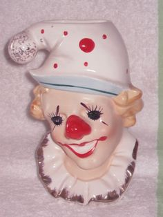 Vintage Clown Figurine Planter Wall Pocket by BrilbunnySelections