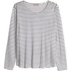 H&M+ Jersey print top ($9.31) ❤ liked on Polyvore featuring tops, shirts, blusas, h&m, plus size, womens plus tops, print shirts, long sleeve tops, long sleeve shirts and plus size white tops